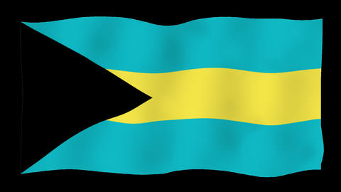 Flag of Bahamas, 60 fps, slow motion, lopped, alpha channel Animation