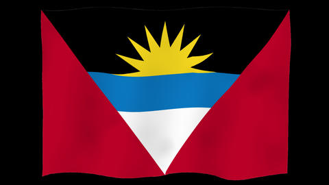 Flag of Antigua and Barbuda, 60 fps, slow motion, lopped, alpha channel Animation
