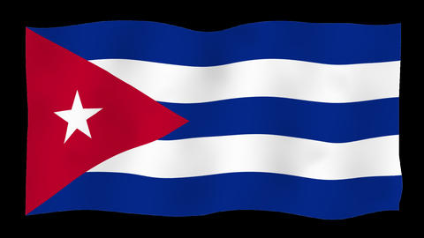 Flag of Cuba, 60 fps, slow motion, lopped, alpha channel Animation