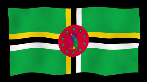 Flag of Dominica, 60 fps, slow motion, lopped, alpha channel Animation