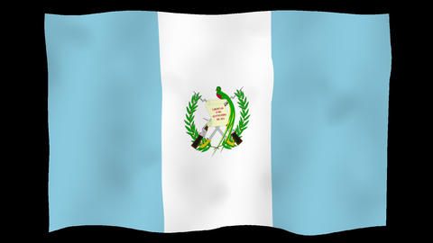 Flag of Guatemala, 60 fps, slow motion, lopped, alpha channel Animation