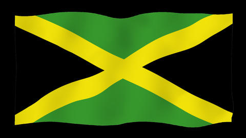Flag of Jamaica, 60 fps, slow motion, lopped, alpha channel Animation