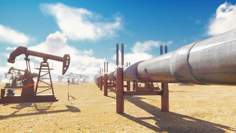 Pump Jack and pipeline for oil on a Sunny day. Pipeline transportation oil Animation
