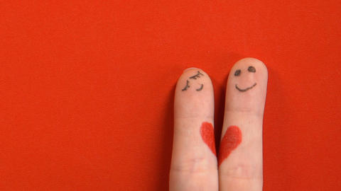 Finger face couple joining together, relations and family, true feeling concept Live Action