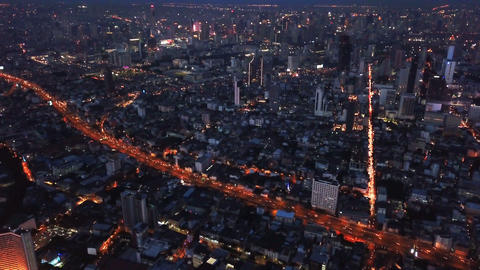 Aerial view of Sathorn, Bangkok Downtown. Financial district and business Live Action