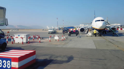 Athens, Greece airport tarmac view with grounded airplanes Live Action