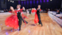 Ballroom dancing. Anonymous defocused people dancing standard dances Live Action