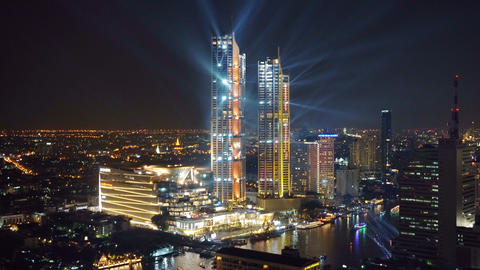 Icon Siam tower celebrated, newest shopping mall in grand opening with lights Live Action