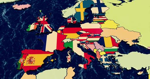 4K European Union (Pre-Brexit) CG動画素材