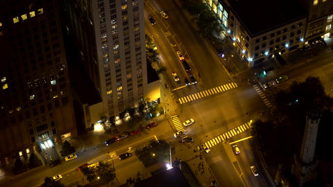 Chicago intersection with traffic from high above Live Action