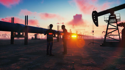 Oilman and businessman talking near the pipeline on a sunset on the background Animation