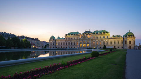Belvedere Palace in Vienna, Austria time lapse day to night Footage