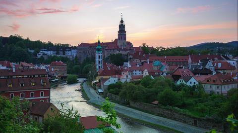 Cesky Krumlov skyline day to night time lapse in Czech Republic Live Action