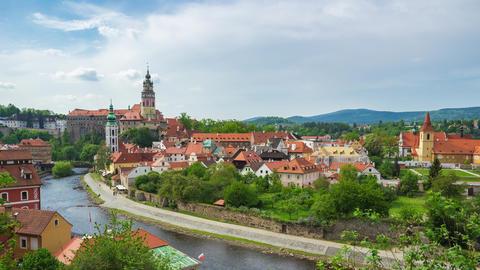 Cesky Krumlov skyline time lapse in Czech Republic Live Action