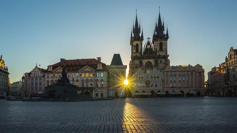 Prague old town square sunrise time lapse in Czech Republic timelapse Live Action