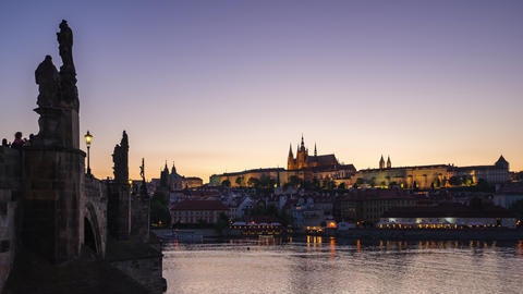 Prague city skyline day to night time lapse in Czech Republic timelapse Footage