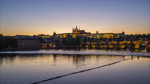 Prague city skyline day to night time lapse in Czech Republic timelapse Live Action