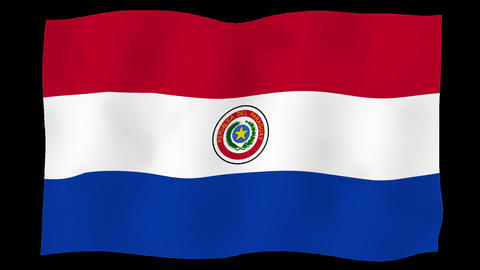 Flag of Paraguay, 60 fps, slow motion, lopped, alpha channel Animation