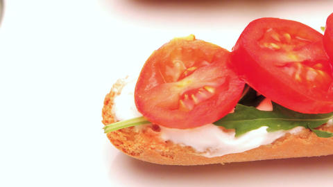 Bruschetta with cottage cheese Footage
