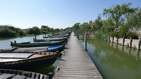 Walking Down the Wooden Jetty in the Canal Footage