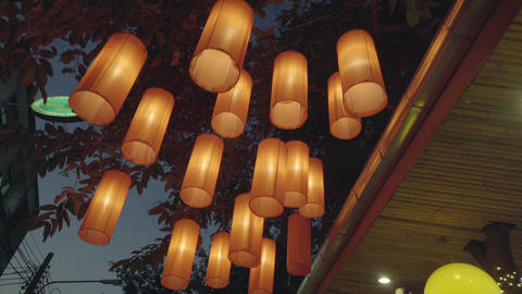 Paper Lantern At Asian Restaurant stock footage