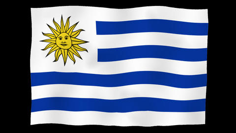 Flag of Uruguay, 60 fps, slow motion, lopped, alpha channel Animation