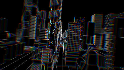 Geometric laser lowpoly cityscape with beat reactive chromatic distortion. Animation