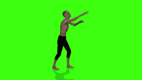 Zombie walking animation. Halloween concept. Green screen animation Live Action