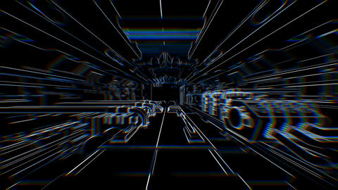 Geometric laser lowpoly interior of a spaceship with beat reactive chromatic Animation