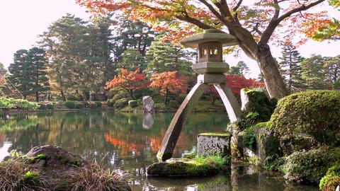 Kenrokuen garden during momiji season, Kanazawa city, Ishikawa prefecture, Japan GIF