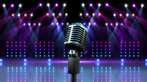 Microphone with flashing lights for pop star Animation