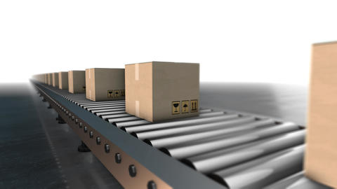 Cardboard boxes progresses along conveyor belt loopable animation Animation