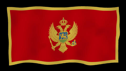 Flag of Montenegro, 60 fps, slow motion, lopped, alpha channel Animation