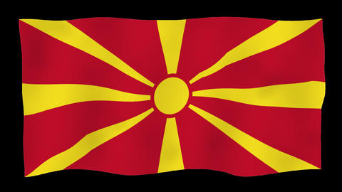 Flag of Macedonia, 60 fps, slow motion, lopped, alpha channel CG動画素材