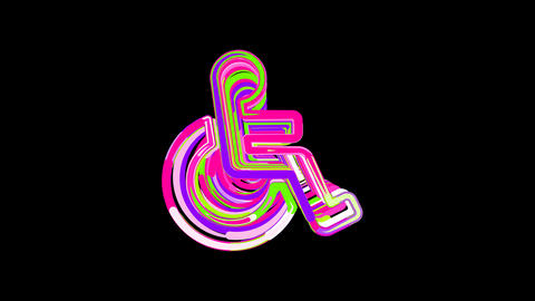 Circles gather in symbol wheelchair. After it crumbles in a line and moves to Animation