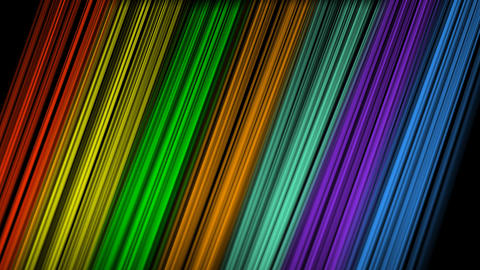 Rainbow slanted strips moving on blackg background, aimated video background Animation