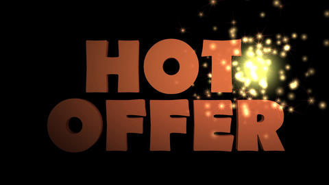 Hot offer lettering with animated 3d letters and sprakles, advertisement banner Animation