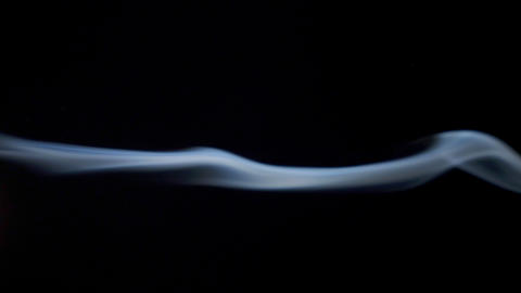 Abstract white blue smoke waves slow moves on the black background 영상물