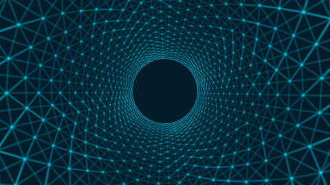 Circles spiral of architecture structure tunnel shape on blue background, Footage