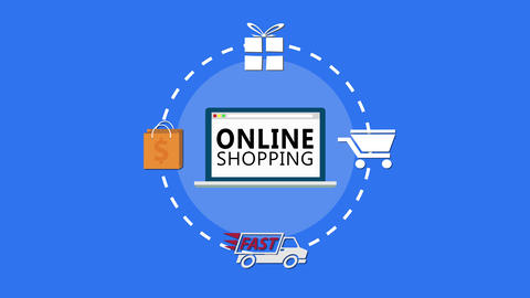 Online Shopping with round symbols High Definition animation colorful scenes Live Action