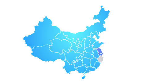 China Map Showing Up Intro By Regions Animation