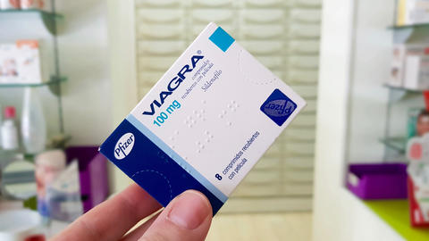 Viagra drug box on January 4, 2019 in Madrid, Spain Live Action