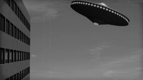 Vintage Alien Invasion: Flying Saucer crashes into a Building Animation