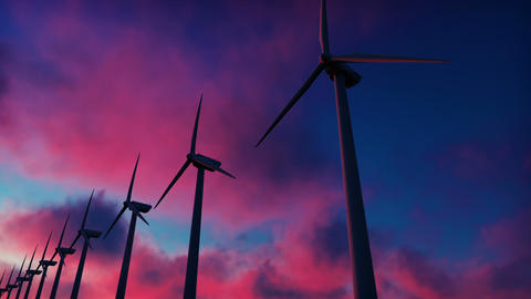 Windmill farm at sunset. Silhouette of a Windmill against a red sky. Realistic Animation