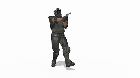 3d model man soldier sneaks up with a gun , Loop, Transparent background Live Action