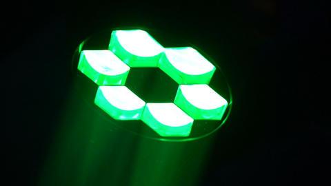 Rotating strobe light illuminating dance floor, night club equipment, concert Footage