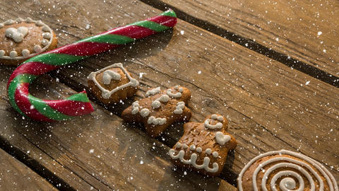 Falling snow with Christmas sweets decorations Animation