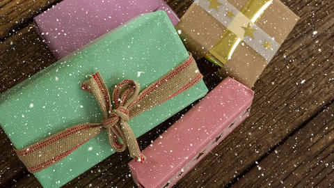 Falling snow with Christmas gifts Animation