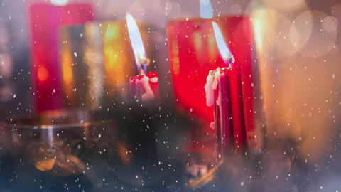 Falling snow with Christmas candles Animation