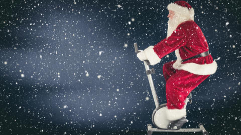 Santa clause on a fitness device combined with falling snow Animation